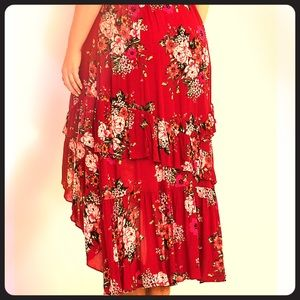 Red hi-lo floral skirt NWT Salsa ready! 💃🏽